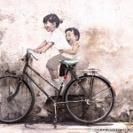 Interactive mural by Ernest Zacharevic on the streets of Georgetown, Penang, Malaysia. Photo by Kiki Deere.