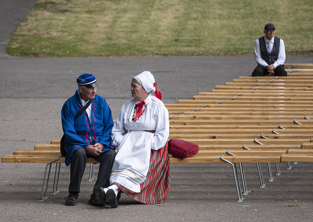 Estonian people at the Song Festival Ground in Tallinn by Tim Bird.