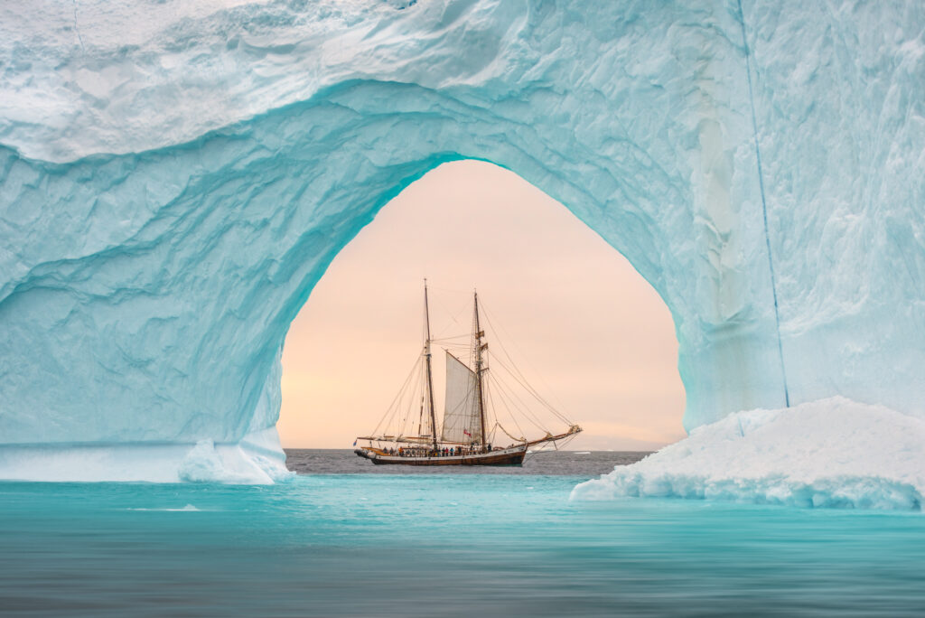 James Rushforth photographed a sailing ship in the Scoresbysund just off the east coast of Greenland