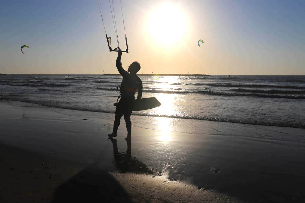 Lynne Coates photographed a windsurfer on the beach at Tel Aviv, Israel