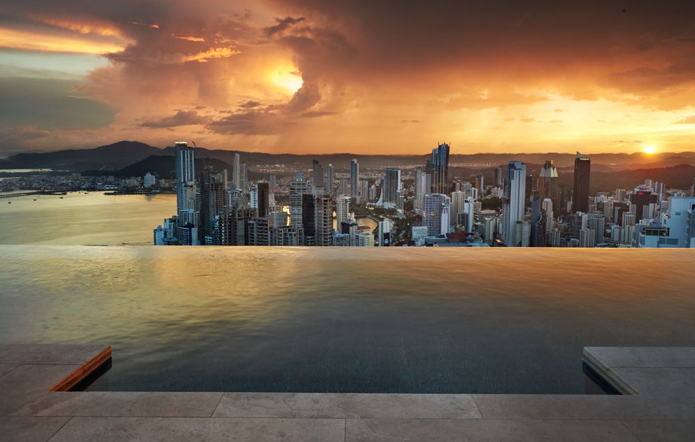 Simon Urwin photographed Panama City from a viewing deck with infinity pool and views of Panama Bay