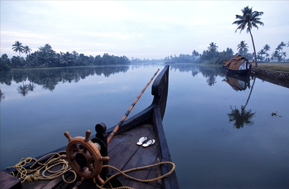Karoki Lewis photographed a houseboat converted from a traditional rice barge on the Kerala backwaters, south India