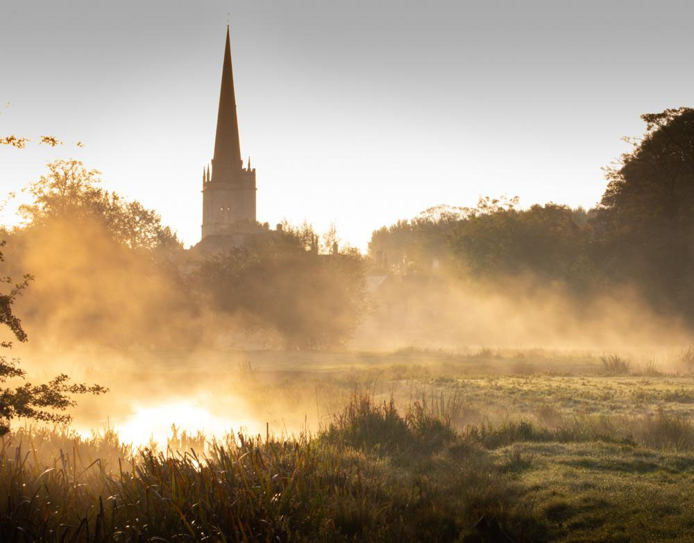 William Gray photographed dawn mist rising above the River Windrush at Burford in the Cotswolds