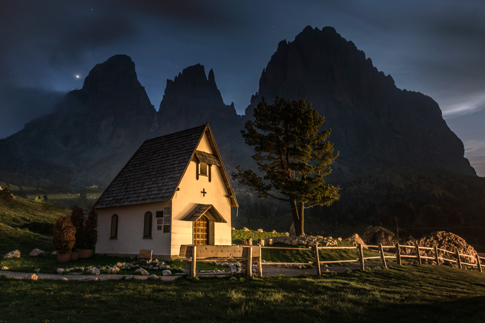 Chapel in the Dolomites by James Rushforth