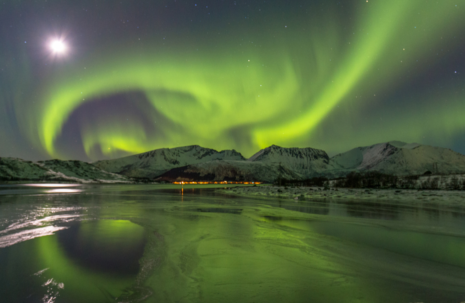 The northern lights over Norway's remote Vesteralen Islands by Sue Watt.